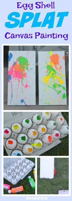 Egg Shell Splat Canvas Painting #shell_crafts_for_toddlers