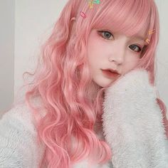 Korean Beauty Girls, Cute Korean Girl, Asian Girl, Girl With Pink Hair, Blue Hair, Kawaii Hairstyles, Cute Hairstyles, Noodle Hair, Ramen Noodle