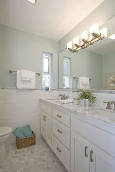 "Benjamin Moore ""Woodlawn Blue"" - HC-147....love everything...paint, counters, wall tile, floor tile....everything!"