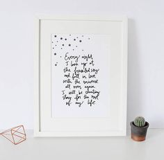 Hand Lettered Print 'Every Night I Look Up At The Freckled