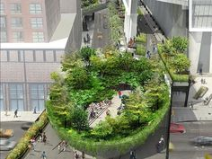 """Check Out The Big, Leafy Lounging Bowl Coming To The High Line: The High Line—otherwise known as the universal answer to the question """"Where the hell should I take my visiting aunt/business associate/john?""""—will be adding another element to the already enjoyable elevated park: The Spur, a giant, leafy bowl to be located at the walkway's northeast terminus."""