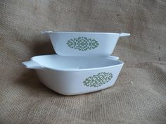 Vintage CorningWare Shell Oil Green Macrame Pattern Cookware