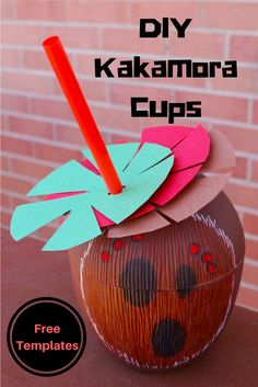 Kakamora Cups for a Moana Birthday Party - Kakamora Coconut Cups for a Disney Moana Party - DIY with free templates