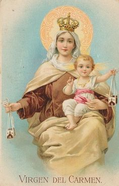 Our Lady of Mount Carmel - I love this picture! So very sweet! Religious Pictures, Jesus Pictures, Religious Icons, Religious Art, Blessed Mother Mary, Blessed Virgin Mary, Catholic Art, Catholic Saints, Lady Of Mount Carmel