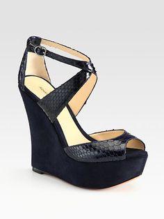 Alexandre Birman - Python and Suede Wedge Sandals