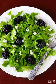 Blackberry Arugula Salad -- just 3 ingredients, plus a yummy vinagrette, and this salad is a guaranteed crowd-pleaser! @Ali Ebright (Gimme Some Oven)