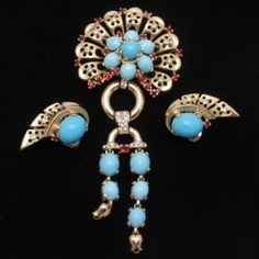 Crown Trifari Turquoise Cab Set Brooch Pin Earrings Vintage Sterling Silver