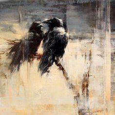 "gothiccharmschool: "" Beautiful paintings by Lindsey Kustusch "" Crow Art, Raven Art, Bird Art, Crow Painting, Painting & Drawing, Crows Ravens, Illustration Art, Illustrations, Arte Horror"