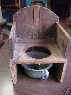 Instead of plastic, we (or, rather, my husband) can build a little chair to put over the chamber pot!