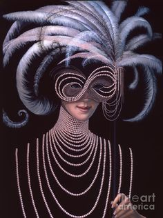 Pearls Painting - The Mask by Jane Whiting Chrzanoska