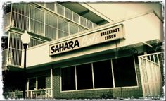 Sahara cafe in black and white