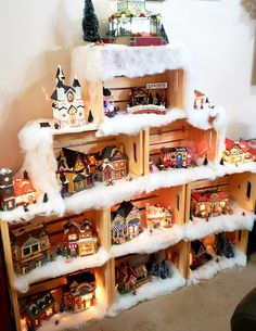 Christmas village using crates Christmas Tree Village Display, Christmas Village Houses, Easy Christmas Decorations, Christmas Wood Crafts, Christmas Villages, Christmas Centerpieces, Christmas Projects, Christmas Traditions, Christmas Holidays