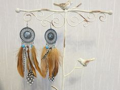Boho Vintage Silver Dreamcatcher Round Pendant Feather. Beads. Chain. Chandelier. Dangle. Earrings