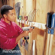 Build this PVC rack to store your tools on the wall. Use a jigsaw to cut a 1-1/4-in.-wide notch down the length of a 2-in.-dia. PVC pipe. Cut several 3-1/2-in.-long sections with a hacksaw or miter saw, and drill two 1/8-in. holes behind the notch. Use 1-1/4-in. drywall screws to attach these pieces to a 2x4 screwed to the wall.