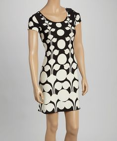 Loving this Black & White Floral Geometric Shift Dress on #zulily! #zulilyfinds