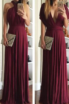"As Seen On Anna of @heyitsannabanana! Lulus Exclusive! Versatility at its finest, the Tricks of the Trade Burgundy Maxi Dress knows a trick or two... or four! Two, 74"" long lengths of fabric sprout from an elastic waistband and wrap into a multitude of bodice styles including halter, one-shoulder, cross-front, strapless, and more. Stretchy, jersey knit hugs your curves as you discover new ways to play with this fascinating frock. Full, maxi-length skirt has a raw hemline. Want Styling Tips?…"