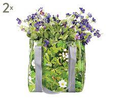 Set di 2 sacche per piantare in tarpaulin grigio e trasparente - 20x20x20 cm