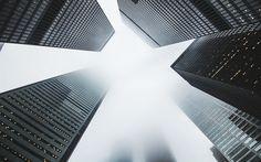 Scarica sfondi grattacieli, di altezza, di nuvole, di infinito, di un edificio alto, centri commerciali