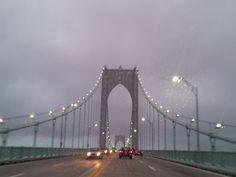 Newport Bridge in the rain