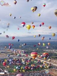 Hot air balloons from all different countries.