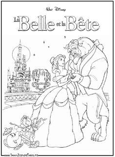 coloriages La Belle et la Bête dansent