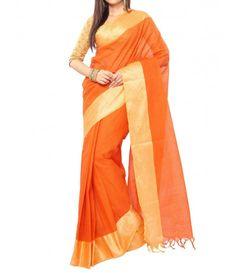 Rust color Traditional Bengal Tant Saree -Golden Zari Border