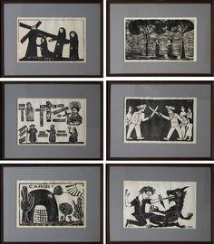 Coleção de Xilogravuras 6 Xilos - M. Noza, E. Silva, J. Leite, Dila, M. Silva, A. Bezerra. Xilogravura 23 alt X 31 larg (cm)