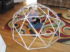 Mike Naylor's math blog: Newspaper geodesic dome