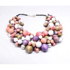 Kolia drewniana Różana Raj, Beaded Necklace, Jewelry, Fashion, Beaded Collar, Moda, Jewlery, Pearl Necklace, Jewerly