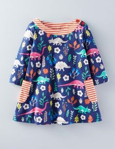 Mini Boden Printed Jersey Tunic in Imperial Blue Florasaurus.