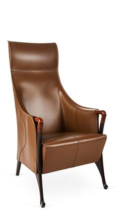 Progetti Leather Wing Chair by Giorgetti