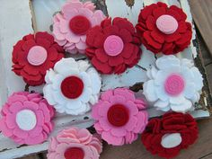 Wool Felt Flower  Sweetheart Collection Blossoms  Valentines