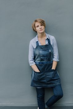 One of a kind remade denim apron by Yours Again.This sustainable denim apron is made from second materials, with least wastage possible. Denim Aprons, Overall Shorts, Overalls, Urban, Grey, Pants, Handmade, Collection, Fashion