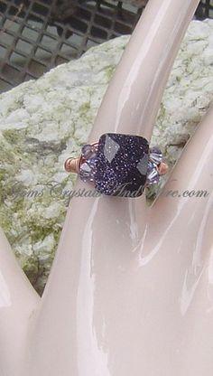 Blue Goldstone and Swarovski Crystal Ring | GemsCrystalsAndWire - Jewelry on ArtFire