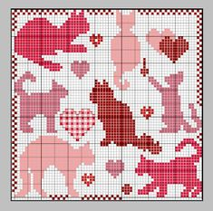 Valentine Cats Cross Stitch Pattern