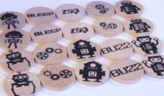 WaldorfMatch Me ROBOTS Wood Memory Game by applenamos on Etsy, $18.00