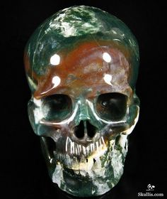 Green Moss Agate Crystal Skull