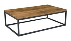 Mountain Teak And Metal Coffee Table Teak Wood Cast Iron Square Tube by Moe's Home Collection. Steel and teak construction. Hollow bottom and sides give a light airy lookDimensions (inches): Weight: 61 lbs Teak Coffee Table, Reclaimed Wood Coffee Table, Coffee Table Rectangle, Cool Coffee Tables, Modern Coffee Tables, Teak Table, Sofa End Tables, Occasional Tables, Moe's Home Collection