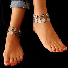Coin Boho Anklet - Rebel Style Shop - This boho anklet is inspired by Turkish jewelry which features elegant and intricate pieces. It is designed with dangling coins and a unique chain which add style your ankle. Wear this for beach events and look stylish while still enjoying the sand on your feet. #boho