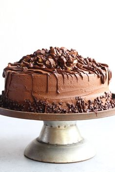 Insane Peanut Butter Cup Cake! A fudgy chocolate cake with creamy peanut butter filling and a rich chocolate frosting. Topped with tons of peanut butter cups and melted chocolate!