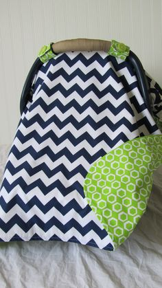 Baby Car Seat Cover Canopy for boy or girl lime by ChicMamaCovers, $38.00