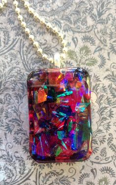 Dichro Pendant, Resin Jewelry, Pink Resin Glitter Necklace