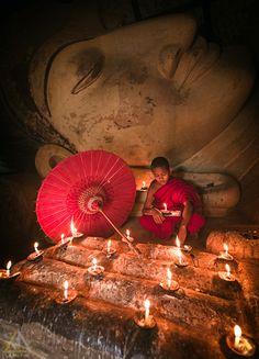 Monk in Myanmar, Burma by La Mo