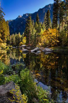Fall along the Merced.  Yosemite National Park, California.  by LoriHibbett.