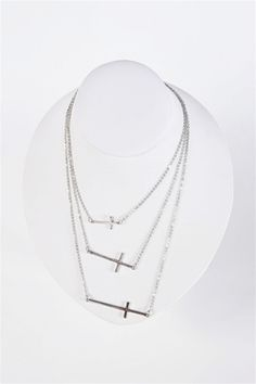 Three Layer Cross Necklace - Silver