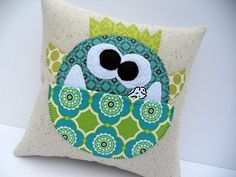 Monster Tooth Fairy Pillow - Free Pattern. Love the idea of a pocket pillow for treasures too!