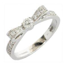 CHANEL 18K White Gold Ribbon Diamonds Band Ring US SIZE 5.75