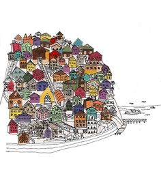 mis dibujos: Etiqueta Vino Puerto Valparaiso Print Wallpaper, My Town, Ex Libris, Cubism, South America, Art Quotes, Watercolor Paintings, Print Patterns, Drawings
