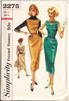 Vintage 1957 Simplicity 2275 Sewing Pattern Junior and Misses' One-Piece Dress and Jumper Size 14 Bust 34