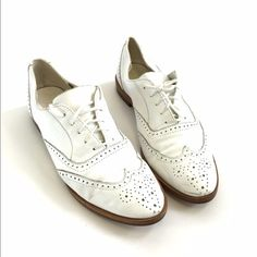 White Wing Tip Oxfords Great Condition! Vintage and Modern. Fit true to a 7 1/2. Shoes Flats & Loafers